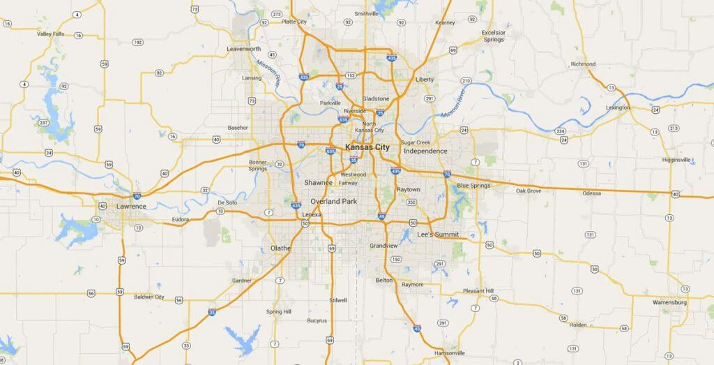 Roofing coverage map of Kansas City